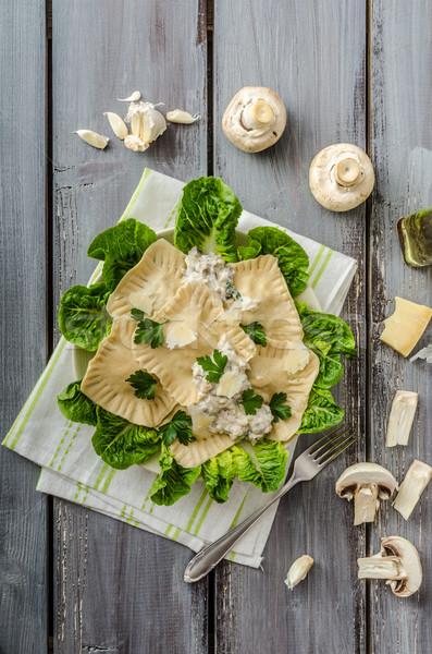 Ravioli töltött gombák háttér konyha asztal Stock fotó © Peteer