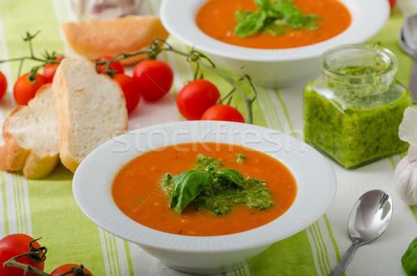 Zupa pomidorowa nice zdrowych pieczywo białe żywności Zdjęcia stock © Peteer