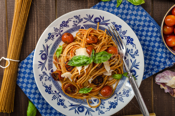 Wholemeal pasta with roasted tomato Stock photo © Peteer