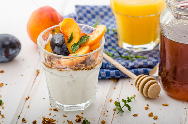 Greek yogurt with fresh fruit Stock photo © Peteer