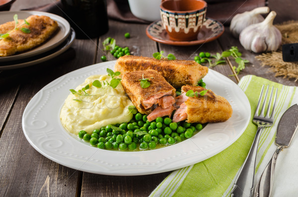 Fried salmon with mashed potato and vegetable Stock photo © Peteer