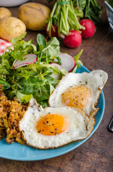 Hash Browns potato with eggs Stock photo © Peteer