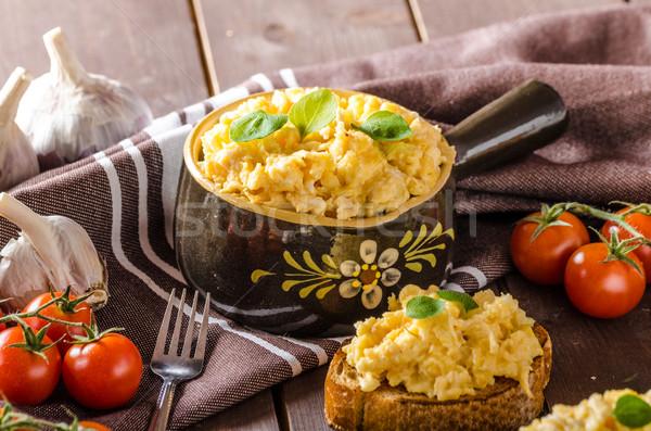 Rántotta gyógynövények fokhagyma pirított kenyér finom Stock fotó © Peteer