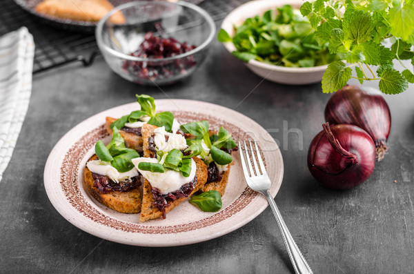 Heatly food toast with onion and mozzarella Stock photo © Peteer