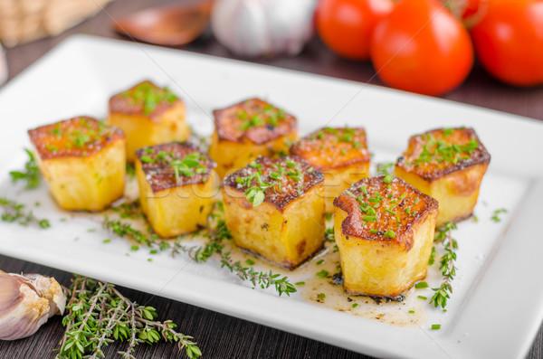 Stockfoto: Aardappel · knoflook · kruiden · eenvoudige · maaltijd · voedsel