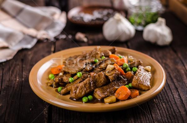 Disznóhús zöldség szója fokhagyma mártás étel Stock fotó © Peteer