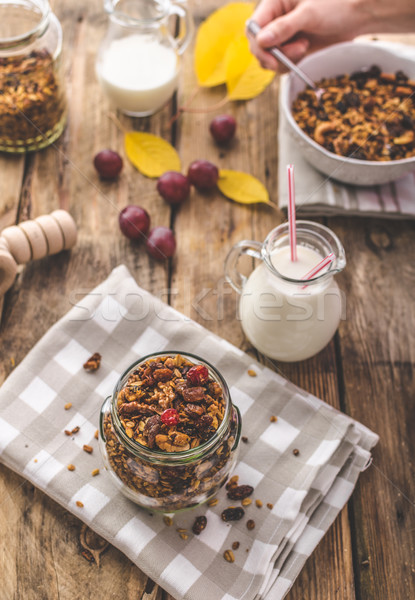 Home-baked granola with nuts, honey and pieces of fruit Stock photo © Peteer