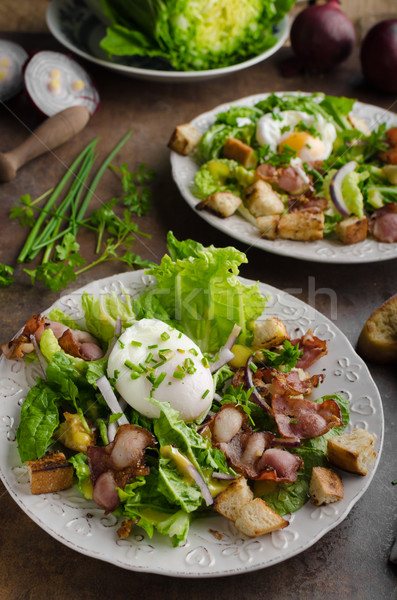 Fresh salad with poached egg Stock photo © Peteer