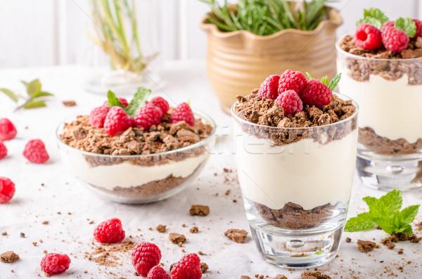 Photo stock: Cheesecake · verre · jar · framboises · herbes · alimentaire