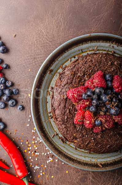 Stock photo: Brownies cake with chilli and berries