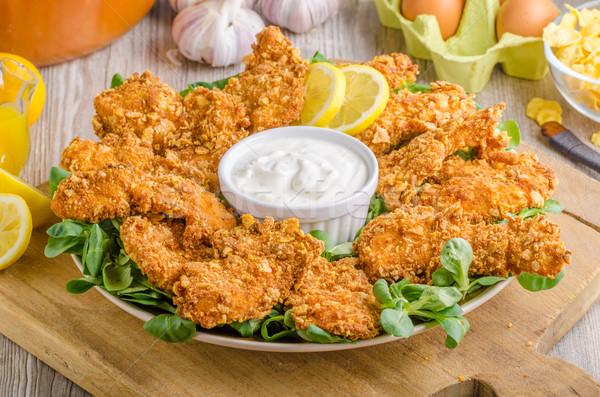 鶏 ストリップ ニンニク ディップ 食品 写真 ストックフォト © Peteer