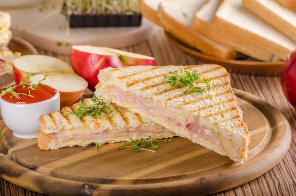 Panini cheese ham toast, fresh apple sandwitch Stock photo © Peteer