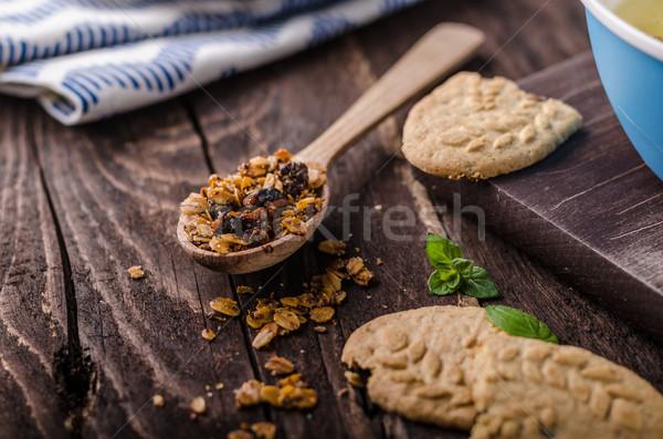 Vanília puding házi készítésű granola egyszerű desszert Stock fotó © Peteer