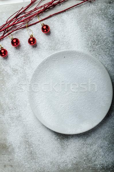 Stock fotó: Tányér · karácsony · díszítések · tél · hangulat · tiszta