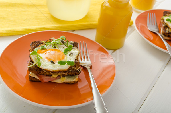 Croque Madame - french baked toast Stock photo © Peteer
