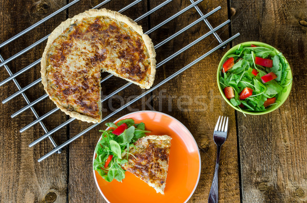 French quiche with cheese and salad Stock photo © Peteer