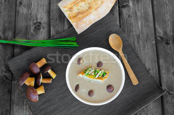 Pilz Sahne Suppe Toast frischen Kräuter Stock foto © Peteer
