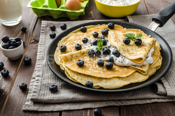 Healthy chia pancakes with blueberries Stock photo © Peteer