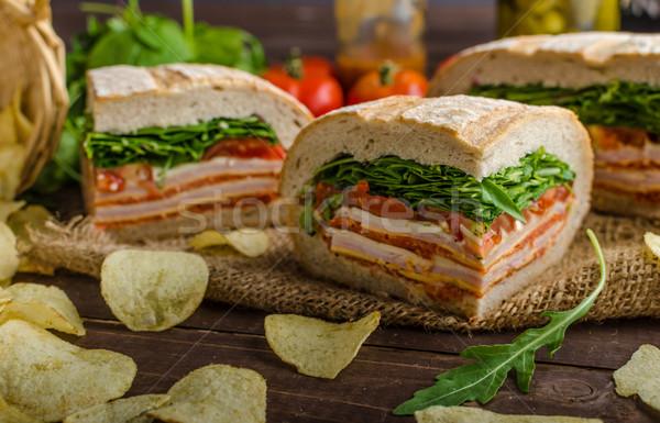 Italiano sanduíche completo saboroso presunto queijo Foto stock © Peteer