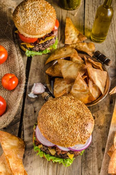 Сток-фото: американский · деревенский · Burger · бекон · чеддер · говядины