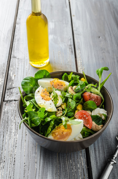 Agneau laitue salade oeufs noix Photo stock © Peteer