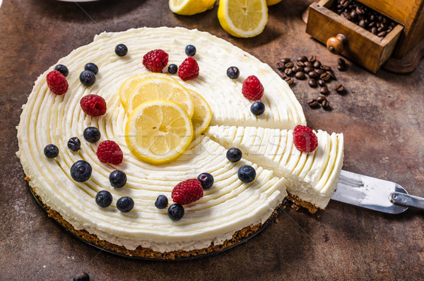 Limone cheesecake frutti di bosco fresche frutti buio Foto d'archivio © Peteer