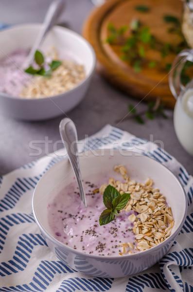 Egészséges reggeli joghurt étel egészség nyár Stock fotó © Peteer