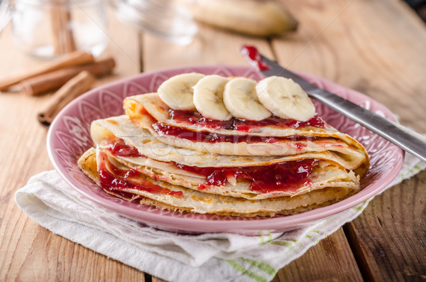 Crepes bio homemade, food photography, delish dessert Stock photo © Peteer