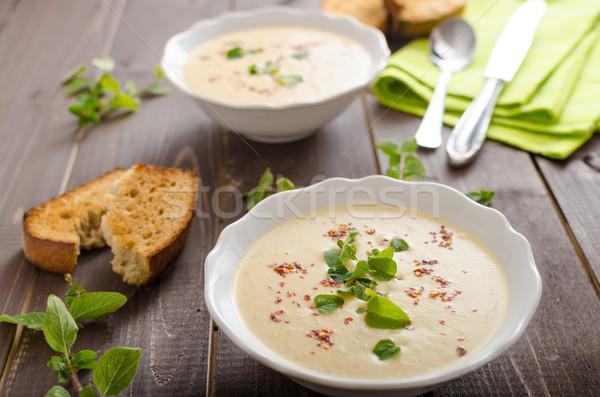 Romig courgette soep chili oregano Stockfoto © Peteer
