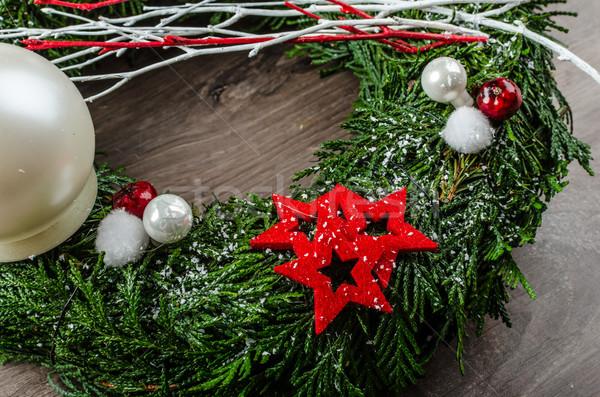 Advent koszorú fa tábla házi készítésű fa Stock fotó © Peteer