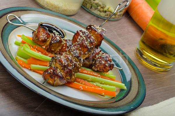 Sticky teriyaki chicken skewers with crunchy slaw Stock photo © Peteer