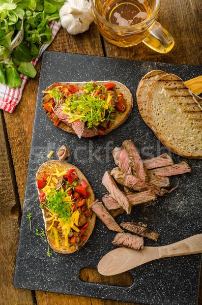 Devilish fried bread Stock photo © Peteer