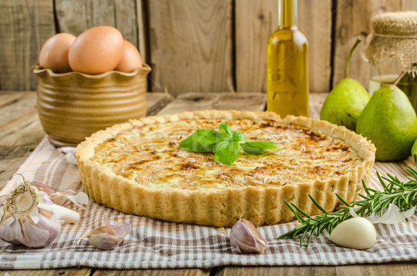 Stock photo: French quiche stuffed cheese and pears