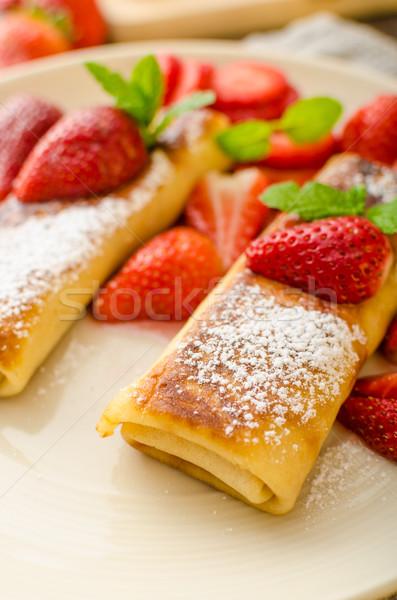 Queso frescos fruta fresca menta alimentos Foto stock © Peteer