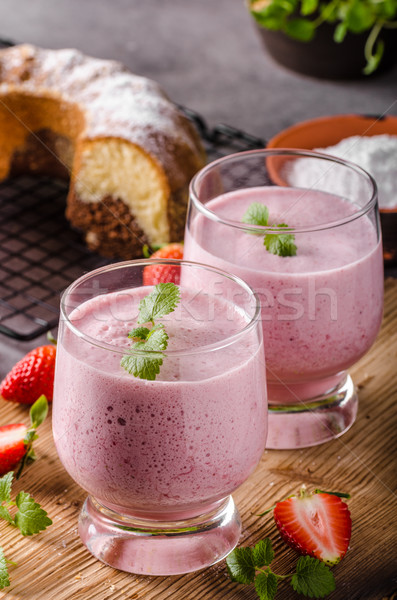 Stock photo: Strawberries milkshake summer drink
