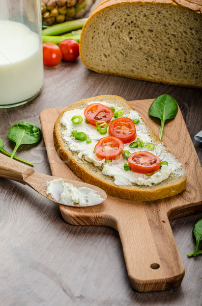 Fresh bread smeared with cream cheese Stock photo © Peteer