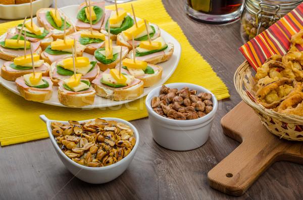 Novo anos refeição celebração presunto queijo Foto stock © Peteer
