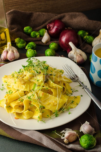 Homemade creamy tagliatelle from semolina flour Stock photo © Peteer