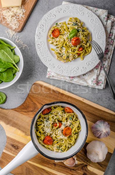 Pasta formaggio tipo gorgonzola vegetali fresche parmigiano Foto d'archivio © Peteer