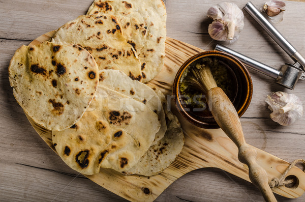 Homemade indian naan bread Stock photo © Peteer
