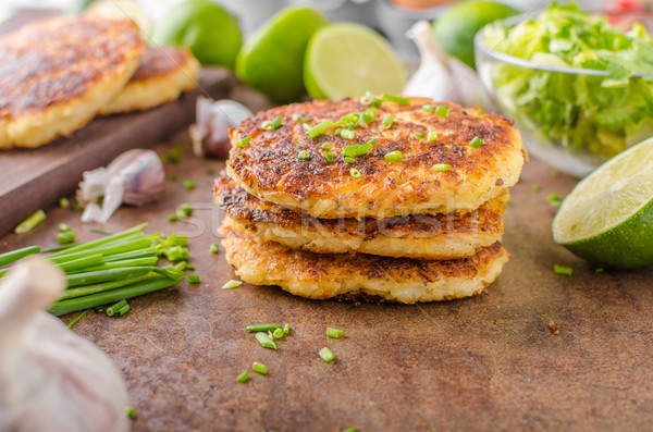 Potato pancakes with garlic Stock photo © Peteer
