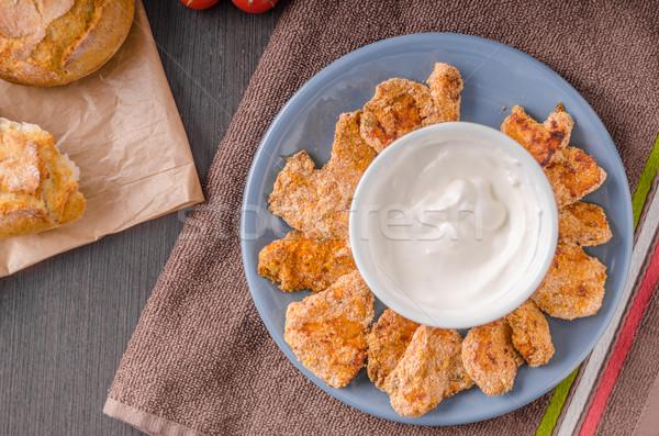 鶏 ポップコーン ニンニク ディップ 食品 ディナー ストックフォト © Peteer