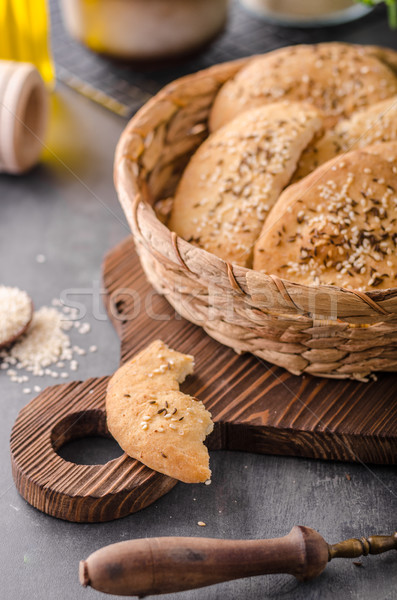 Homemade crackers with cumin Stock photo © Peteer