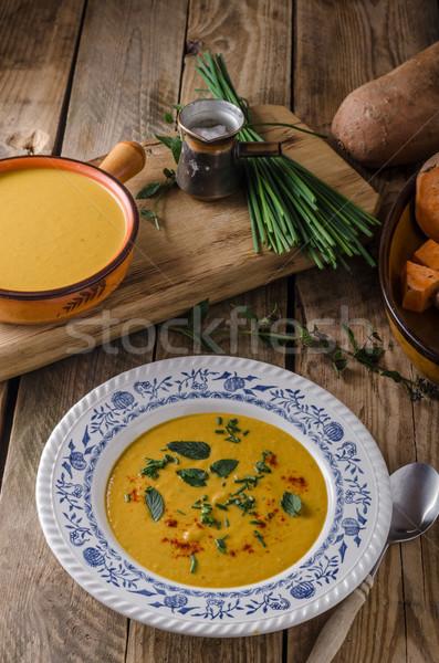 Patata dolce zuppa erbe peperoncino aglio arancione Foto d'archivio © Peteer