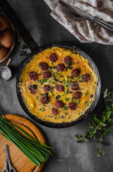 Stock photo: Omelette with sausage