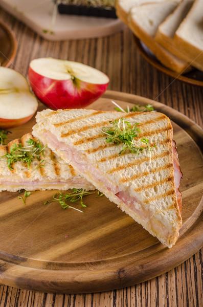 Panini queijo presunto brinde fresco maçã Foto stock © Peteer