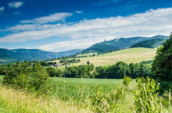 Cseh hegyek mező zárt megfigyelés torony Stock fotó © Peteer