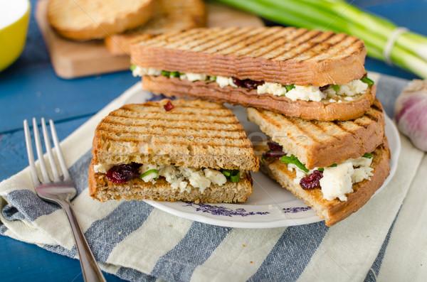 Stockfoto: Sandwich · schimmelkaas · gebakken · panini · grill