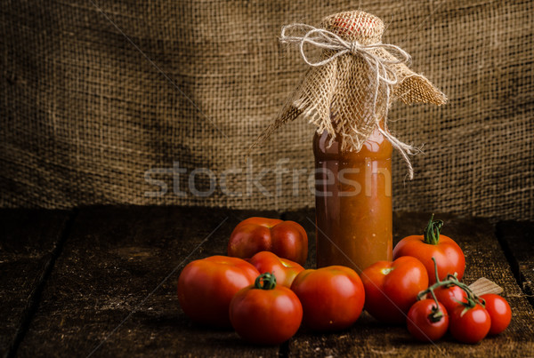Homemade ketchup from tomatoes grown in organic garden Stock photo © Peteer