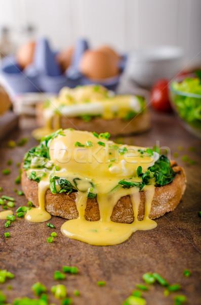 ストックフォト: 卵 · ほうれん草 · 素朴な · パン · ニンニク